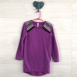 Xhilaration Girls XS Purple Aztec Shoulder Tunic